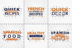 orange cooking book set for food and recipe magazines. Restaurant menu titles or badges for food stores and restaurants. Minimalist design for recipe banners