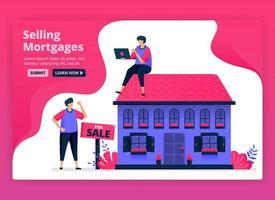 Ilustración vectorial de venta y compra de propiedades e inmuebles con hipotecas baratas. financiación para la compra de viviendas por parte de los bancos. se puede utilizar para páginas de destino, sitios web, web, aplicaciones móviles, carteles, folletos vector