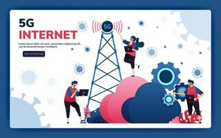 Landing page vector illustration of 5g infrastructure and internet network connections for activities and work during covid-19 virus pandemic. Symbol of cloud, engine, hosting. Web, website, banner
