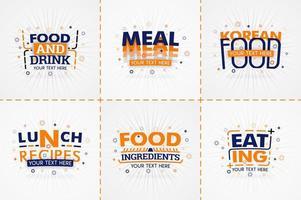libro de cocina naranja para revistas de recetas y comida. títulos de menú de restaurante o insignias para tiendas de alimentos y restaurantes. diseño minimalista para pancartas de recetas.