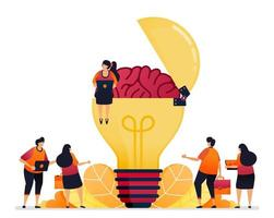 Vector illustration of looking for ideas, solution, opening your creative mind. brain symbol of inspiration. Graphic design for landing page, web, website, mobile apps, banner, template, poster, flyer