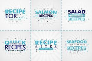 Blue cooking book set for food and recipe magazines. Restaurant menu titles or badges for food stores and restaurants. Minimalist design for recipe banners