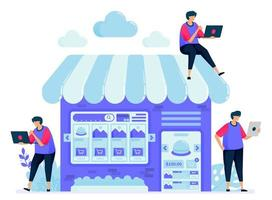 ilustración vectorial para el mercado en línea con una tienda o puesto de venta de stands. buscar y comparar artículos en el mercado. se puede utilizar para páginas de destino, sitios web, web, aplicaciones móviles, carteles, folletos vector