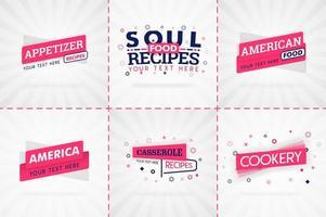 libro de cocina rosa para revistas de comida y recetas. títulos de menú de restaurante o insignias para tiendas de alimentos y restaurantes. diseño minimalista para pancartas de recetas.