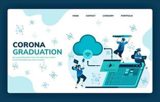Vector illustration for corona graduation for education, scholarships, online learning, modern and future schools. Design can be used for landing page, template, ui ux, web, website, banner, flyer