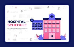 Landing page vector illustration of hospital treatment scheduling, doctor and patient visits, hospital bookings. Can be used for website web mobile apps poster flyer background element banner template