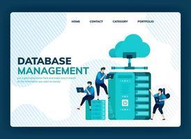ilustración vectorial para el sistema de gestión de bases de datos para el almacenamiento de datos, copia de seguridad, alojamiento, servidor, proveedor de servicios en la nube. El diseño se puede utilizar para la página de destino, plantilla, ui ux, web, sitio web, banner, flyer vector