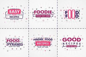 Pink cooking book set for food and recipe magazines. Restaurant menu titles or badges for food stores and restaurants. Minimalist design for recipe banners vector