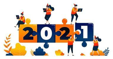 Año nuevo de 2020 a 2021 con tema de juego de rompecabezas, liderazgo y trabajo en equipo. El concepto de ilustración vectorial se puede utilizar para la página de destino, plantilla, ui ux, web, aplicación móvil, póster, pancarta, sitio web, folleto vector