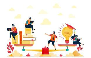 Balance between reading and ideas. Stacks of books and light bulbs for inspiration and education. Graduated from university. Vector illustration for website, mobile apps, banner, template, poster