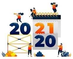 Countdown of 2020 to 2021 with theme of removal of last years calendar. Vector illustration concept can be use for landing page, template, ui ux, web, mobile app, poster, banner, website, flyer