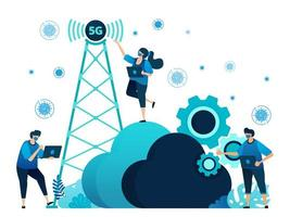 Vector illustration of 5g infrastructure and internet network connections for activities and work during covid-19 virus pandemic. Symbol of cloud, engine, hosting. Landing page, web, website, banner
