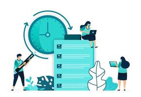 vector illustration of checklist for reviews and feedback on customer opinions quality and timeliness. women and men workers. designed for website, web, landing page, apps, ui ux, poster, flyer