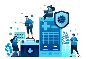 Vector illustration of hospital health service applications and mobile clinics for handling covid-19 pandemic. Can be used for landing page, website, web, mobile apps, flyer banner, template, poster