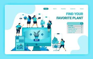 Landing page of shop and find plants at best prices. E-commerce and delivery service with mobile apps. Looking for monstera plants online. Vector design template for web, websites, site, banner, flyer