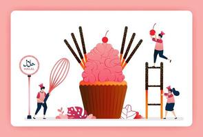 Illustration of cook halal sweet strawberry cupcakes. Pink sugar icing with chocolate cake sticks and candy. Design can use for website, web, landing page, banner, mobile apps, ui ux, poster, flyer vector