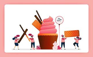 Illustration of cook halal sweet strawberry cupcakes. Muffin with snack waffle, chocolate stick and wafer. Design can use for website, web, landing page, banner, mobile apps, ui ux, poster, flyer vector