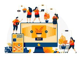 Illustration of shop and find plants at best prices. E-commerce and delivery services with mobile apps. Looking for monstera plants online. Landing page template for web, websites, site, banner, flyer vector