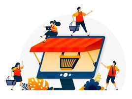Ilustración del comercio electrónico en línea con una metáfora de carrito de compras y un monitor con techo. tiendas online mayoristas y minoristas. plantilla de diseño vectorial para página de destino, web, sitios web, sitio, banner, volante vector