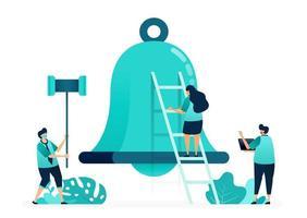 ilustración vectorial de campanas de alarma para notificaciones y aplicaciones. sosteniendo un martillo para golpear las campanas. grupo de trabajadoras y trabajadores. diseñado para sitio web, web, página de destino, aplicaciones, ui ux, póster, folleto vector