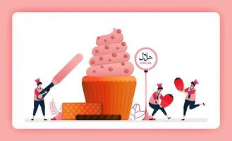halal food menu illustration of sweet strawberry cupcake. Making muffins decorated with swirl icing and cocoa. Design can use For website, web, landing page, banner, mobile apps, UI UX, poster, flyer vector