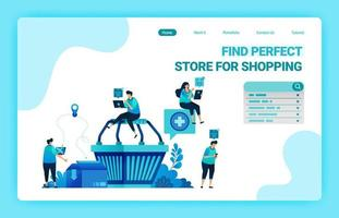 Landing page of shopping cart with people around who want to shop. E-commerce with delivery and cardboarding services. Vector illustration design template for web, websites, site, banner, flyer