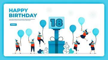 Ilustración de vector de cumpleaños número 18 con protocolo de salud. feliz fiesta de cumpleaños en cuarentena. cartel de cumpleaños. tarjeta de cumpleaños online. para sitio web, web, página de destino, banner, aplicaciones móviles, ui ux, póster, folleto