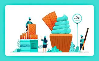 halal food menu illustration of sweet cupcake. crispy wafer and waffle for muffin whip cream icing topping. Design can use For website, web, landing page, banner, mobile apps, UI UX, poster, flyer vector