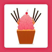 Illustration of cupcake with giant strawberry whip cream and extra topping, six chocolate sticks and cherries. Design can be for books, flyer, poster, website, web, apps, landing page, cookbook
