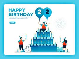 22nd birthday vector illustration with health protocol. happy quarantine birthday party. birthday sign. online birthday card. For website, web, landing page, banner, mobile apps, UI UX, poster, flyer
