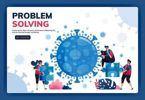 Landing page vector illustration of teamwork and brainstorming to solve problems and find solutions during the covid-19 virus pandemic. Symbol of collaboration, virus, puzzle. Web, website, banner