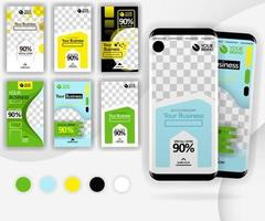 social media swipe template with a mockup smartphone for internet marketing, promotion, ads, online business, can use for, landing page, template, ui, web, mobile app, vector illustration concept