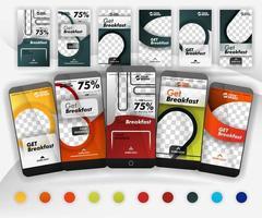 cinco plantillas de deslizamiento de redes sociales con más de 10 colores, incluida una maqueta adecuada para teléfonos inteligentes para negocios de alimentos, promoción en línea, marketing y publicidad en Internet, que se pueden usar para, página de destino, plantillas, web vector