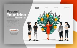 Vector Illustration Concept of business woman presenting ideas that start to grow. Easy to use for website, banner, landing page, brochure, flyer, print, mobile, app, poster, UI, Presentation, Ads