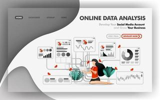 Online data analysis vector Illustration concept, relaxed girl analyzes data on direction of business growth. Easy to use for website, banner, brochure, flyer, print, mobile, app, poster, template, UI