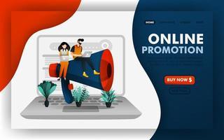 promoción de seo o concepto de ilustración de vector de promoción de marketing en línea, personas sentadas en megáfonos gigantes. fácil de usar para sitio web, banner, página de destino, folleto, volante, impresión, móvil, aplicación, cartel