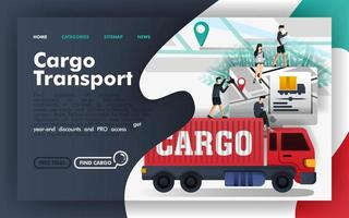 Cargo transport logistics Flat Vector Illustration Concept, freight transportation apps and map. Easy to use for website, banner, landing page, brochure, flyer, print, mobile app, poster, template, UI