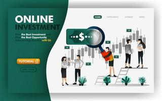 Online investment and banking vector Illustration. Men with giant magnifiers will give you advice to determine profitable investments. Can use for website, banner, brochure, flyer, print, mobile, UI