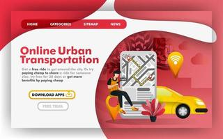 Mobile urban city transportation Flat Vector Illustration Concept, Online delivery taxi service. Easy to use for website, banner, landing page, brochure, flyer, print, mobile app, poster, template, UI