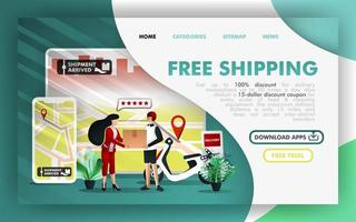 Free shipping Flat Vector Illustration Concept, courier service and online delivery order apps.  Easy to use for website, banner, landing page, brochure, flyer, print, mobile app, poster, template, UI