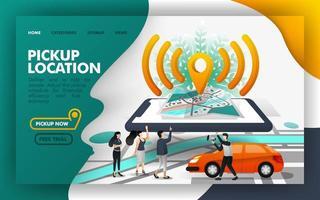 concepto de ilustración de vector isométrico de wifi pin de ubicación de recogida, compartir un viaje con otras personas. fácil de usar para sitio web, banner, página de destino, folleto, volante, impresión, aplicación móvil, póster, plantilla, ui