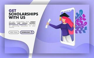 Vector illustration concept. blue website banner about scholarship programs. women with toga come out of the smartphone. suitable for print, online, mobile apps, web, landing page. Flat cartoon style