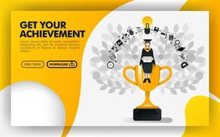 Vector illustration. Yellow website banner about get your achievement. bachelor sit on a trophy carrying a laptop and wearing toga. can use for online, print page, poster, mobile apps, UI. Flat style