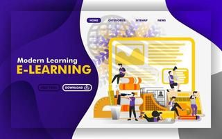 Vector illustration concept. websites about modern learning or e-learning. Group of students are studying in the middle of stationery. suitable for mobile apps, print , online, UI. Flat cartoon style