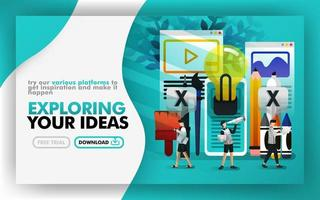 Vector illustration green web banner about exploring your idea. people walking around stationery and light bulb to find and get ideas and inspiration. Can use for print page. Flat cartoon style