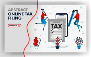 Vector abstract illustration website banner design in white with theme of online tax filing.  man holding a pencil to fill out tax form and woman was checking. suitable for all media. Flat cartoon style
