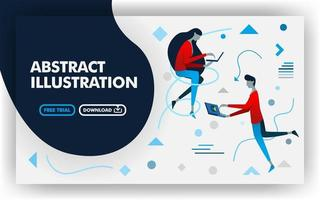 Vector abstract illustration banner website with white and dark blue. women and men working with laptop. suitable for websites, landing page, posters, print , online, presentation. Flat cartoon style