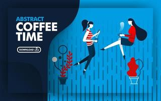 Vector abstract illustration website banner with blue, dark blue and red with coffee time theme. two women were relaxing drinking coffee in the rain. can use for page. Flat cartoon style