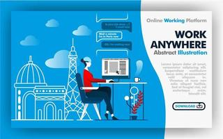 Vector abstract illustration blue and white banner web or poster design about work anywhere. female worker work while on vacation in France. Paris city backgrounds and effel tower. Flat cartoon style