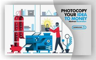 Vector abstract illustration banner and website in red, gray, blue with title copy your idea to money. Worker put light bulb into machine and make money that goes into piggy bank. Flat cartoon style